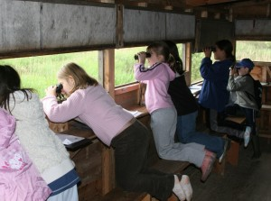 School group birdwatching